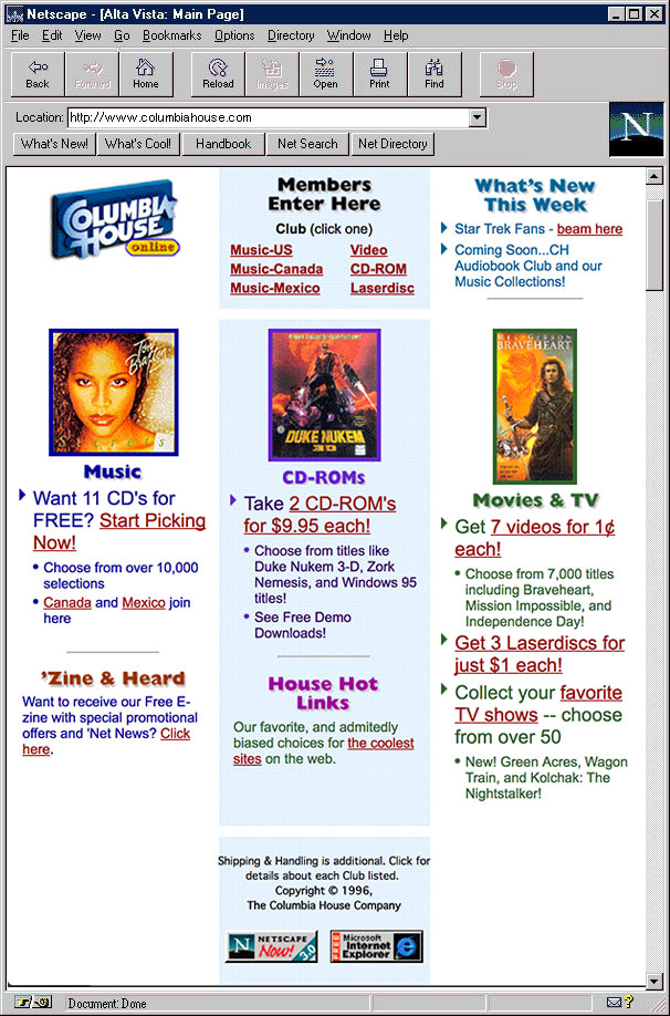 Columbia House website in 1997