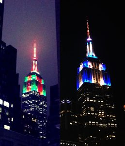 The Empire State Building shows the colors of the holidays...