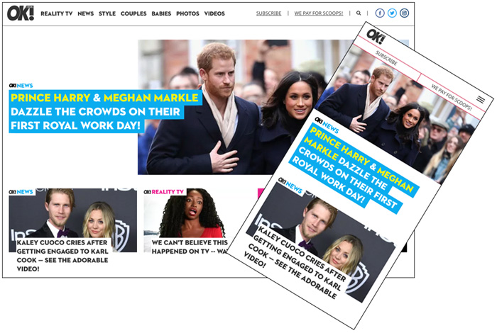 OK! Magazine redesigned homepage